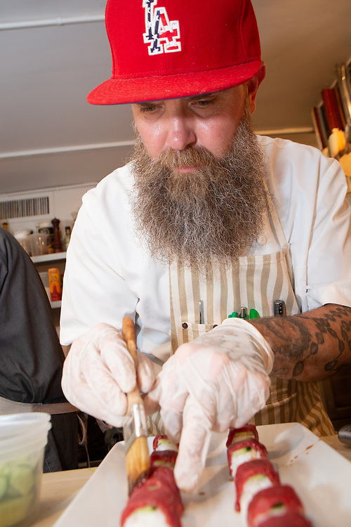 New York, NY - April 24, 2019: Chef Sam Marvin of Echo & Rig in Las Vegas and Sacramento presents The Butcher's Beef Banquet featuring beef from Tasmania at The James Beard House in Greenwich Village.<br /> <br /> Photo by Clay Williams for The James Beard Foundation.<br /> <br /> © Clay Williams / http://claywilliamsphoto.com
