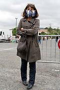 outdoors farmers market food shopper portrait during Covid 19 crisis France Limoux April 2020