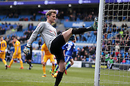 Anders Lindegaard, the Preston goalkeeper kicks the post in frustration after Anthony Pilkington of Cardiff city scores his teams and his 2nd goal from the penalty spot. . Skybet football league championship match, Cardiff city v Preston NE at the Cardiff city stadium in Cardiff, South Wales on Saturday 27th Feb 2016.<br /> pic by  Andrew Orchard, Andrew Orchard sports photography.