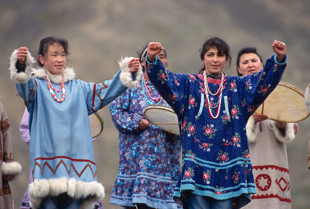 Native dancers, Village of Sireniki, Chukotsk Peninsula, Northeast Russia