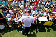 May 12, 2018; Ponte Vedra Beach, FL, USA; Justin Thomas signs autographs during the third round of The Players Championship golf tournament at TPC Sawgrass - Stadium Course. Mandatory Credit: Peter Casey-USA TODAY Sports