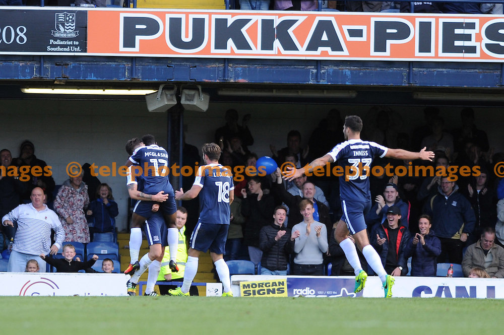 Southends players celebrates Anthony Wordsworth scoring the opening goal during the Sky Bet League 1 match between Southend United and Peterborough at Roots Hall in Southend. October 1, 2016.<br />Holly  Allison / Telephoto Images<br />+44 7967 642437