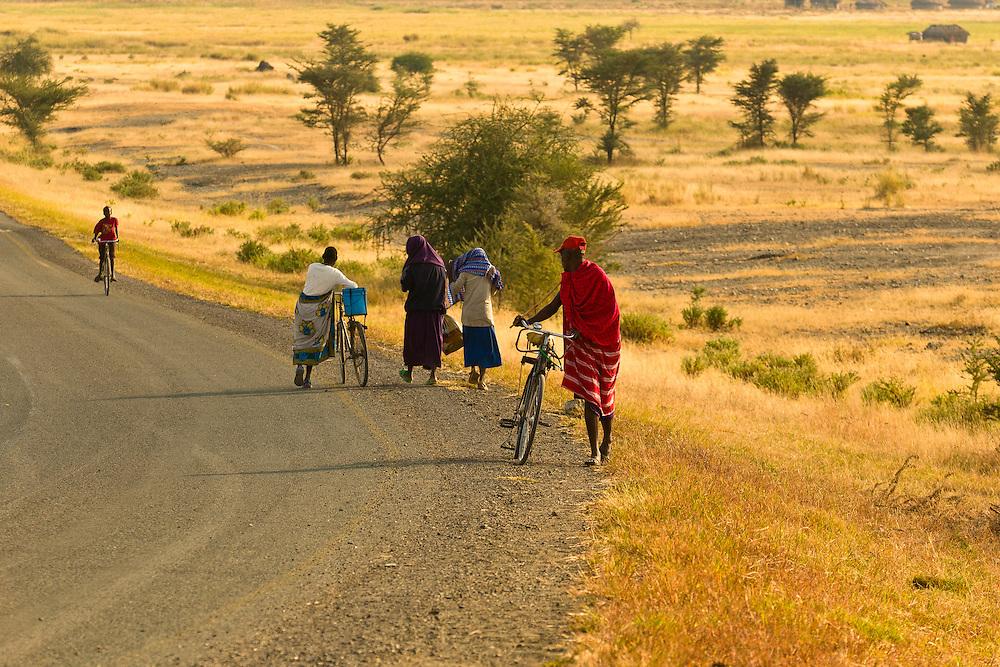 Maasai tribal people with their bicycles on road, Tanzania
