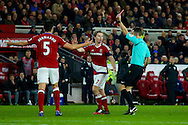 CORRECTION :- Middlesbrough defender Daniel Ayala (4) is sent off and receives a red card as Middlesbrough midfielder Grant Leadbitter (7) argues with todays referee David Coote  during the The FA Cup match between Middlesbrough and Sheffield Wednesday at the Riverside Stadium, Middlesbrough, England on 8 January 2017. Photo by Simon Davies.
