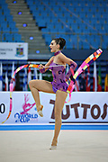 Kragulj Sara during the qualifying at ribbon in Pesaro World Cup at the Adriatic Arena on 27 April 2013. Sara is a Slovenian individual gymnast born on 26 October 1996 in Ljubljana, Slovenia.