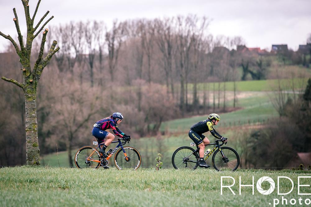 Elena Amialiusik (BLR/Canyon Sram Racing) and  Grace Brown (AUS/Mitchelton Scott)<br /> <br /> 75th Omloop Het Nieuwsblad 2020 (BEL)<br /> Women's Elite Race <br /> Gent – Ninove: 123km<br /> <br /> ©kramon