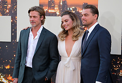 Once Upon A Time In Hollywood Premiere - Los Angeles. 22 Jul 2019 Pictured: Quentin Tarantino, Brad Pitt, Margot Robbie, Leonardo DiCaprio. Photo credit: Jen Lowery / MEGA TheMegaAgency.com +1 888 505 6342