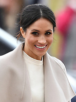 Prince Harry and Meghan Markle visit the Crown Liquor Saloon and meet the people of Belfast in Northern Ireland, UK, on the 23rd March 2018.<br /> <br /> Picture by James Whatling