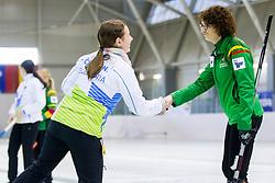 Nika Cerne of Slovenia and Virginija Paulauskaite of Lithuania during European Curling Championship C-division between national team of Slovenia and Lithuania on April 29, 2016 in Ledena dvorana Zalog, Ljubljana, Slovenia. Photo By Urban Urbanc / Sportida