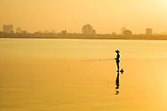Fisherman Hanoi West Lake Sunset Vietnam