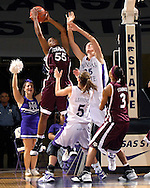 Texas A&M forward Danielle Gant (55) pulls down a first half rebound over Kansas State defenders Danielle Zanotti (25) and Shalee Lehning (5) at Bramlage Coliseum in Manhattan, Kansas, January 6, 2007.  K-State upset the 17th ranked Aggies 48-45.