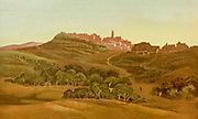Coloured Illustration Bethlehem cityscape of from the book Palestine illustrated by Sir Richard Temple, 1st Baronet, GCSI, CIE, PC, FRS (8 March 1826 – 15 March 1902) was an administrator in British India and a British politician. Published in London by W.H. Allen & Co. in 1888