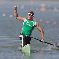 Attila Vajda from Hungary celebrates his success in the C1 men canoe 1000m semi-final during the 2011 ICF World Canoe Sprint Championships held in Szeged, Hungary. Thursday, 18. August 2011. ATTILA VOLGYI