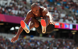 Canada's Damian Warner competes in the Men's Decathlon Long Jump during day eight of the 2017 IAAF World Championships at the London Stadium.