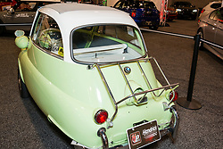CHARLOTTE, NORTH CAROLINA - NOVEMBER 20, 2014: BMW Isetta 300 micro car on display during the 2014 Charlotte International Auto Show at the Charlotte Convention Center.