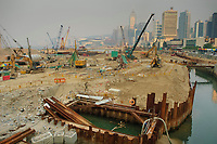Building work on reclaimed land close to the Central Pier area, Hong Kong, Hong Kong, August 2008   Photo: Peter Llewellyn