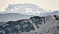Mount St Helens and the Mount Tahoma Trails High Hut from north of the Nisqually River Valley