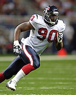 Houston Texans top draft pick Mario Williams in action agaisnt St. Louis at the Edward Jones Dome in St. Louis, Missouri, August 19, 2006.  The Texans beat the Rams 27-20.
