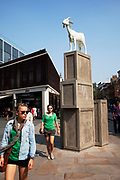Sculpture in Spitalfields Market, one of the famous East End markets in London.