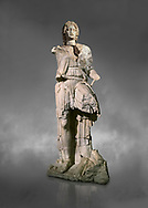 Roman statue of Alexander The Great. Marble. Perge. 2nd century AD. Inv no 2.23.93. Antalya Archaeology Museum; Turkey.  Against a grey background .<br /> <br /> If you prefer to buy from our ALAMY STOCK LIBRARY page at https://www.alamy.com/portfolio/paul-williams-funkystock/greco-roman-sculptures.html . Type -    Antalya     - into LOWER SEARCH WITHIN GALLERY box - Refine search by adding a subject, place, background colour, museum etc.<br /> <br /> Visit our ROMAN WORLD PHOTO COLLECTIONS for more photos to download or buy as wall art prints https://funkystock.photoshelter.com/gallery-collection/The-Romans-Art-Artefacts-Antiquities-Historic-Sites-Pictures-Images/C0000r2uLJJo9_s0