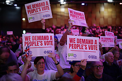 © Licensed to London News Pictures. 09/12/2018. London, UK. Supporters of a second referendum at a People's Vote rally at the Excel Centre in London. MPs will vote on Prime Minister Theresa May's proposed Brexit deal in the coming week. Photo credit: Rob Pinney/LNP