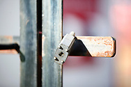 Ground shot of locked entrance during the EFL Sky Bet League 2 match between Stevenage and Bradford City at the Lamex Stadium, Stevenage, England on 5 April 2021.