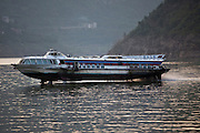 An old hydrofoil on the Yangtze River near Wanxian, China. Hydrofoils were once a common sight on the river, but today, with the development of China's highways, railways and the building of the Three Gorges Dam, fewer travelers take boats.