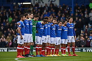 Portsmouth Players Come together for remembrance  during the EFL Sky Bet League 1 match between Portsmouth and Southend United at Fratton Park, Portsmouth, England on 18 November 2017. Photo by Adam Rivers.