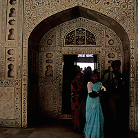 Asia, India, Agra. Women in saris at the Agra Fort.