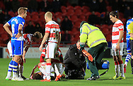 Keshi Anderson injury during the Sky Bet League 1 match between Doncaster Rovers and Rochdale at the Keepmoat Stadium, Doncaster, England on 21 November 2015. Photo by Daniel Youngs.