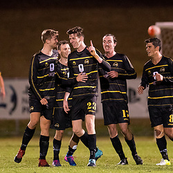 BRISBANE, AUSTRALIA - AUGUST 26: Declan Smith of Moreton Bay celebrates scoring a goal during the NPL Queensland Senior Men's Semi Final match between Brisbane Strikers and Moreton Bay Jets at Perry Park on August 26, 2017 in Brisbane, Australia. (Photo by Patrick Kearney)