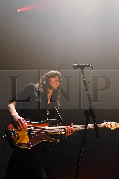 © Licensed to London News Pictures. 06/03/2012. London, UK. Band of Skulls headline a sell-out live show at The Roundhouse, Camden.  Emma Richardson on bass guitar and vocals.  Photo credit : Richard Isaac/LNP