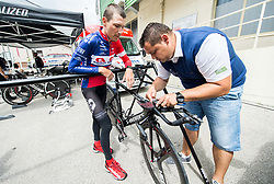Janez Brajkovic of Adria Mobil Cycling Team and Dejan Rifelj of Adria Mobil during 5th Time Trial Stage of 25th Tour de Slovenie 2018 cycling race between Trebnje and Novo mesto (25,5 km), on June 17, 2018 in  Slovenia. Photo by Vid Ponikvar / Sportida