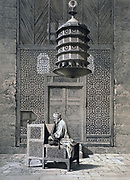 Mosque of the Sepulchre of Sultan Barqouq' (Barquq) Cairo, Egypt. The door to the tomb. 14th century. Lithograph from 'L'Art arabe d'apres les monuments du Caire' 1869-1877 by Emile Prisse d'Avennes, (1807-1879) French architect.
