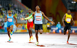 Botswana's Isaac Makwala celebrates winning gold as he crosses the finish line in the Men's 400m Final at the Carrara Stadium during day six of the 2018 Commonwealth Games in the Gold Coast, Australia.
