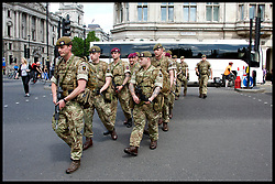 May 24, 2017 - London, London, United Kingdom - Image ©Licensed to i-Images Picture Agency. 24/05/2017. London, United Kingdom. Troops on the streets of London. Troops from the British Army arrive on the Streets in Westminster, London, to help guard the House's of Parliament. The Army has been called in after the terror attack at Manchester Arena.  Picture by i-Images (Credit Image: © i-Images via ZUMA Press)