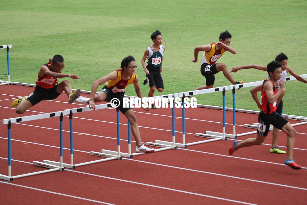Choa Chu Kang Sports Complex, Thursday, April 11, 2013 — Jay Choo Zhan Xian of Singapore Sports School took home gold in 14.84 seconds in the B Division 110m hurdles final at the 54th National Schools Track and Field Championships. The silver medalist was Victoria School's Muhammad Danial Bin Othman with a 15.21s timing and winning bronze was Jay's teammate, Muhammad Adnan Hakim, in 15.50s.<br /> <br /> Story: http://www.redsports.sg/2013/04/16/b-div-boys-110m-hurdles-jay-choo-singapore-sports-school/