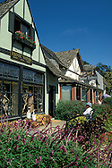 Tourists and small business retail shops in the small coastal village town of Cambria, California