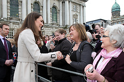 Kate Middleton meets members of the public during a Northern Ireland Cancer Fund for Children event outside Belfast City Hall, during her and Prince William's visit to Northern Ireland.