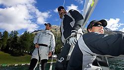 L-R, Ben Ainslie, GBR, Iain Percy, GBR, Christian Kamp, DEN. On board TEAMORIGIN. St Moritz Match Race 2010. World Match Racing Tour. St Moritz, Switzerland. 31st August 2010. Photo: Ian Roman/Subzero Images.