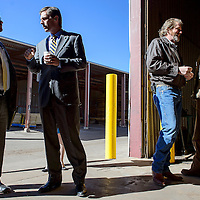031914       Cable Hoover<br /> <br /> Business owners Hardy Allen, right, and Matt Allen chat while U.S. Sen. Martin Heinrich and his staff tour their business, Mount Taylor Manufacturing, in Milan Wednesday.
