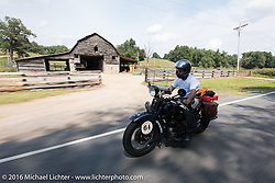 Steve Macdonald riding his 1928 Henderson Deluxe during Stage 5 of the Motorcycle Cannonball Cross-Country Endurance Run, which on this day ran from Clarksville, TN to Cape Girardeau, MO., USA. Tuesday, September 9, 2014.  Photography ©2014 Michael Lichter.