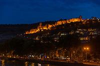 fortress Narikala Tbilisi and Kuri river cityscape at night capital city  of Georgia eastern Europe