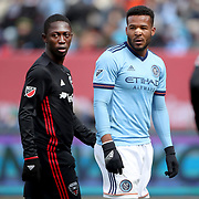 NEW YORK, NEW YORK - March 12:  Patrick Nyarko #12 of D.C. United and Ethan White #3 of New York City FC during the NYCFC Vs D.C. United regular season MLS game at Yankee Stadium on March 12, 2017 in New York City. (Photo by Tim Clayton/Corbis via Getty Images)