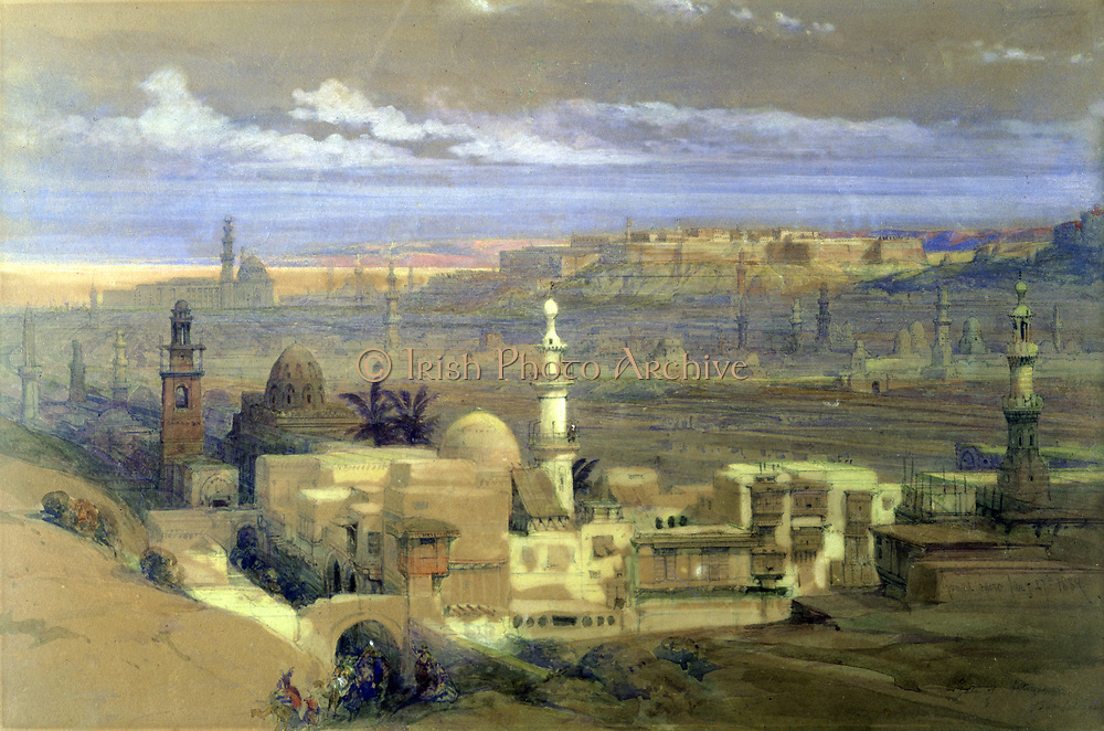 View of Cairo, 1839. Watercolour and gouache.  David Roberts (1796-1864) Scottish artist and orientalist. Egypt Landscape