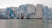 Part of the glacier-front of 14th-July-glacier in Krossfjord, western Spitsbergen, Svalbard in early August 2012.