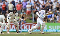 November 9, 2018 - Galle, Sri Lanka - Sri Lankan cricketer Dimuth Karunaratne plays a shot during the 4th day's play of the first test cricket match between Sri Lanka and England at Galle International cricket stadium, Galle, Sri Lanka. 11-09-2018  (Credit Image: © Tharaka Basnayaka/NurPhoto via ZUMA Press)