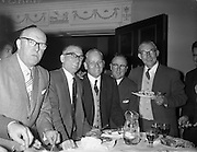 28/09/1960<br /> 09/28/1960<br /> 28 September 1960<br /> Luncheon at Gilbey's Wine Merchants, Nos. 46-49 O'Connell St., Dublin.<br /> (l-r); Mr. R. Spencer; Mr. A. James; Mr. C. Baker; Mr. H. Brown and Mr. C.H. Garnett.