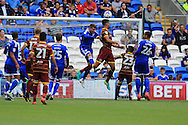 Steven Caulker of Queens Park Rangers (3rd right) scores his teams 1st goal with a header. EFL Skybet championship match, Cardiff city v Queens Park Rangers at the Cardiff city stadium in Cardiff, South Wales on Sunday 14th August 2016.<br /> pic by Andrew Orchard, Andrew Orchard sports photography.