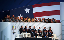 Team USA with their wives and girlfriends behind during the Ryder Cup Opening Ceremony at Le Golf National, Saint-Quentin-en-Yvelines, Paris.